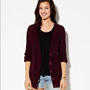 American Eagle Burgundy chunky knit cardigan